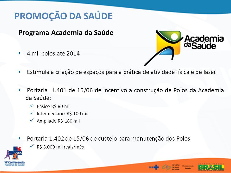 PROMOÇÃO DA SAÚDE Programa Academia da Saúde 4 mil polos até 2014