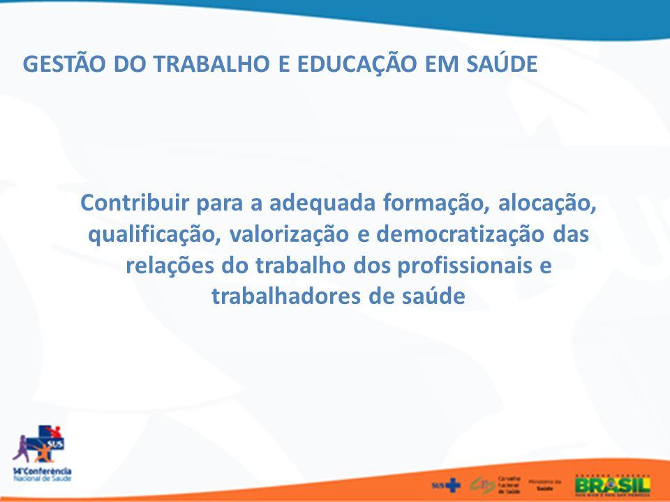 GESTÃO DO TRABALHO E EDUCAÇÃO EM SAÚDE