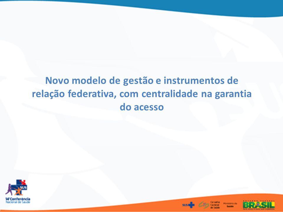 Novo modelo de gestão e instrumentos de relação federativa, com centralidade na garantia do acesso