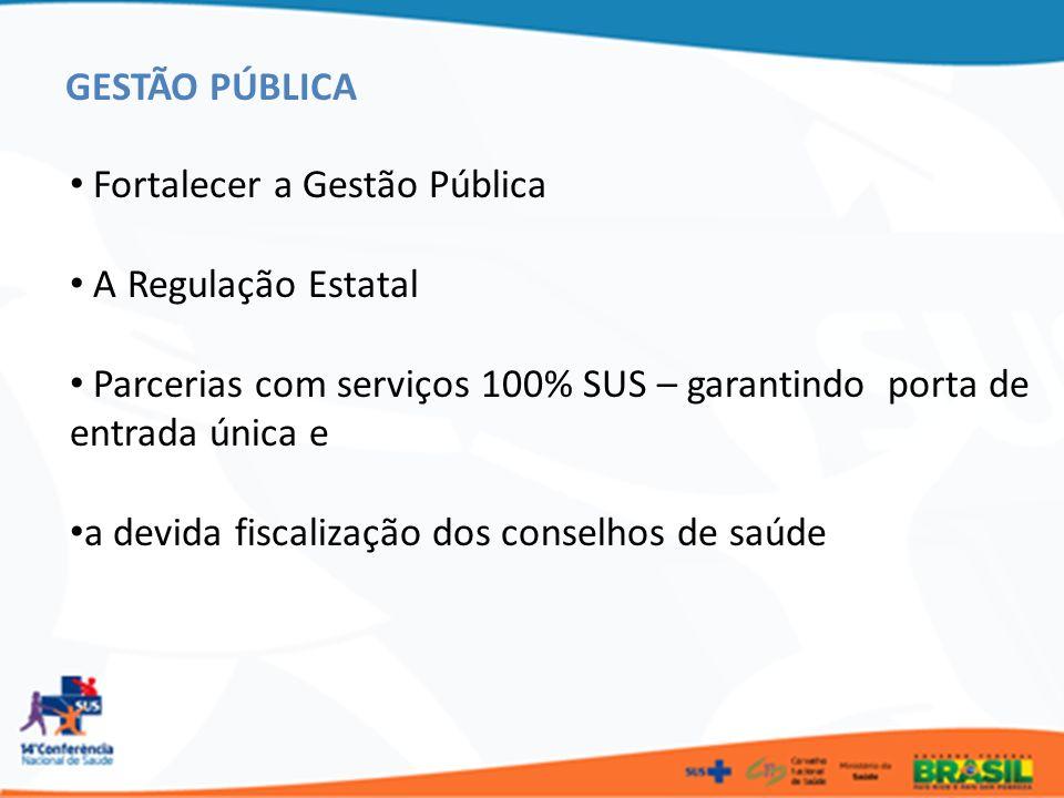 GESTÃO PÚBLICA Fortalecer a Gestão Pública. A Regulação Estatal. Parcerias com serviços 100% SUS – garantindo porta de entrada única e.