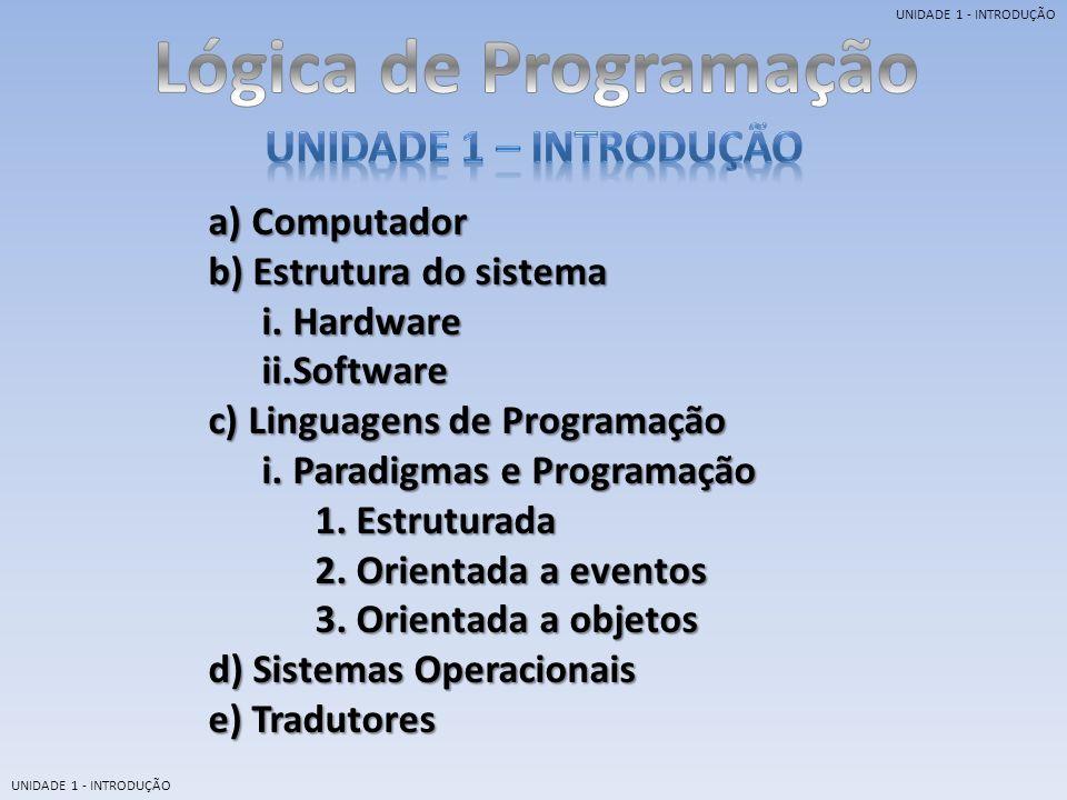 Lógica de Programação UNIDADE 1 – Introdução a) Computador