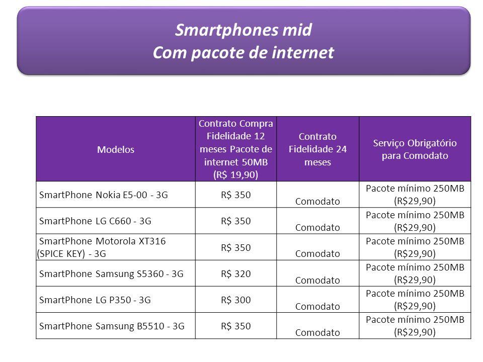 Smartphones mid Com pacote de internet