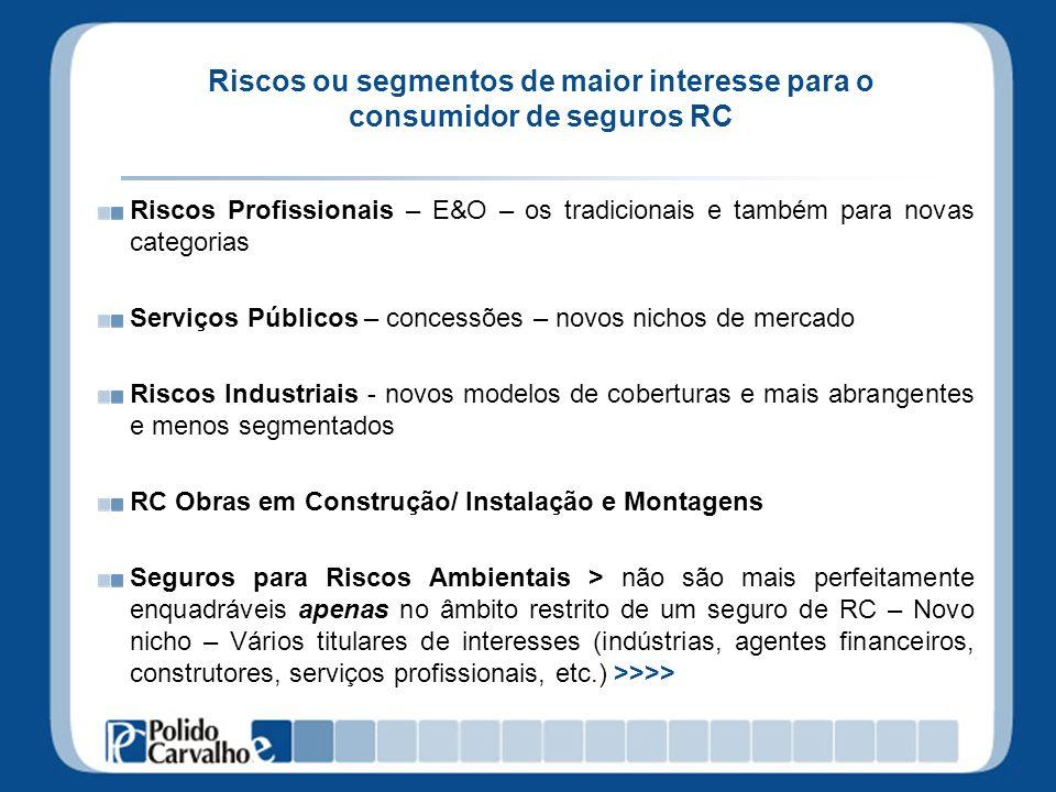 Riscos ou segmentos de maior interesse para o consumidor de seguros RC