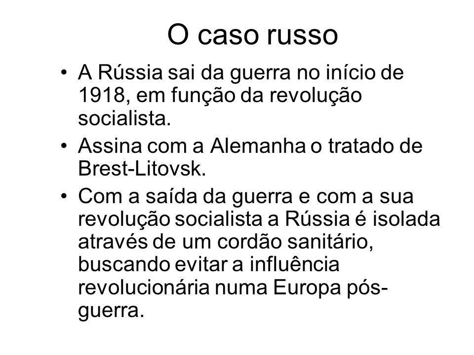 O caso russo A Rússia sai da guerra no início de 1918, em função da revolução socialista. Assina com a Alemanha o tratado de Brest-Litovsk.