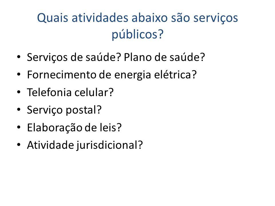 Quais atividades abaixo são serviços públicos