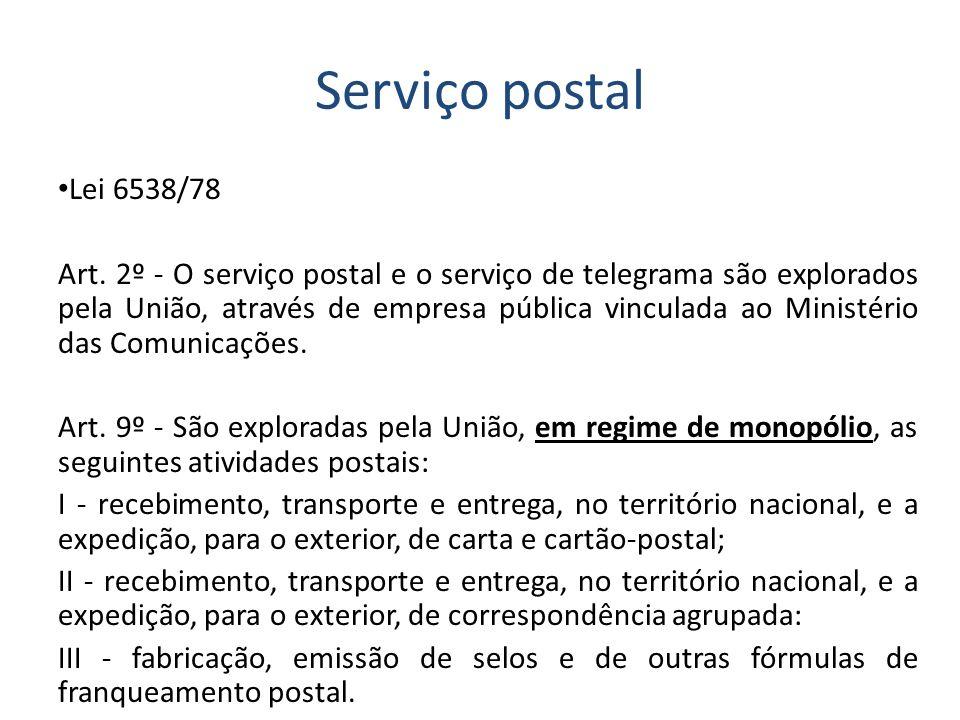 Serviço postal Lei 6538/78.
