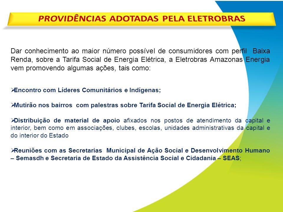 PROVIDÊNCIAS ADOTADAS PELA ELETROBRAS