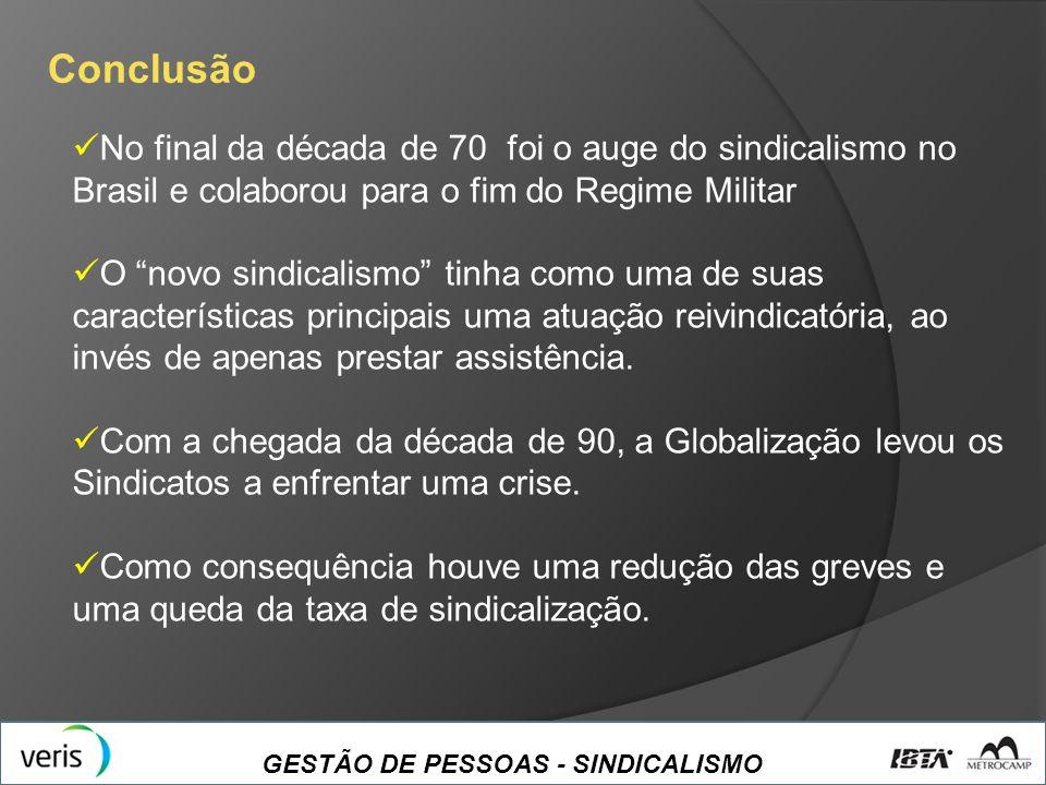 Conclusão No final da década de 70 foi o auge do sindicalismo no Brasil e colaborou para o fim do Regime Militar.