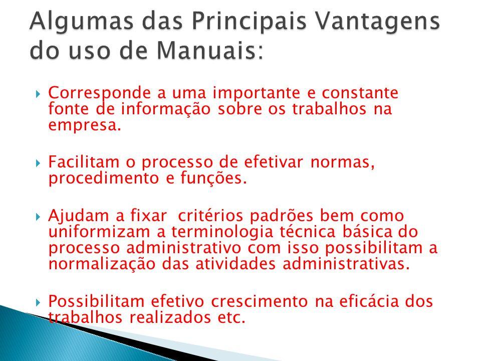 Algumas das Principais Vantagens do uso de Manuais: