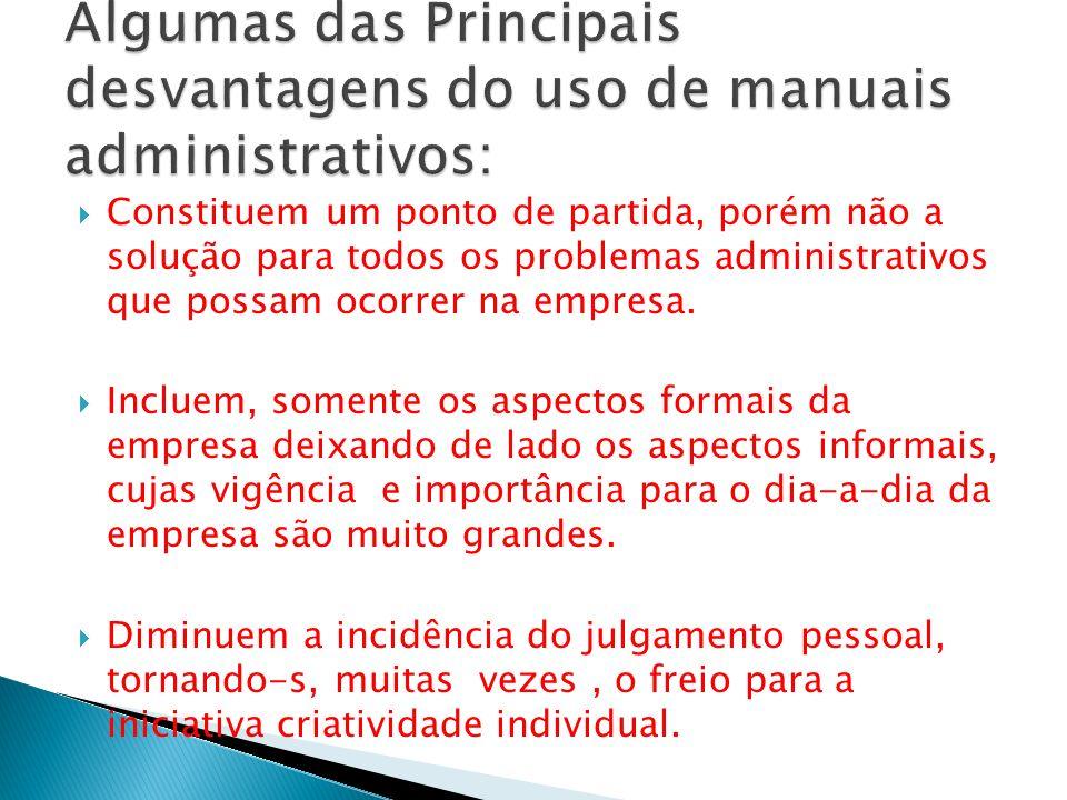 Algumas das Principais desvantagens do uso de manuais administrativos: