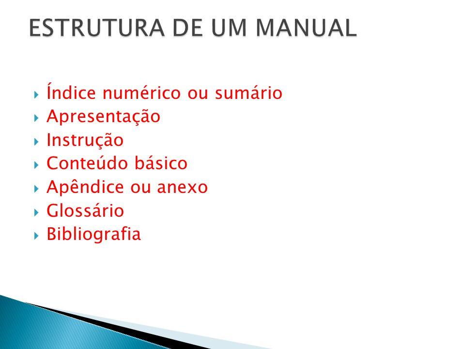 ESTRUTURA DE UM MANUAL Índice numérico ou sumário Apresentação