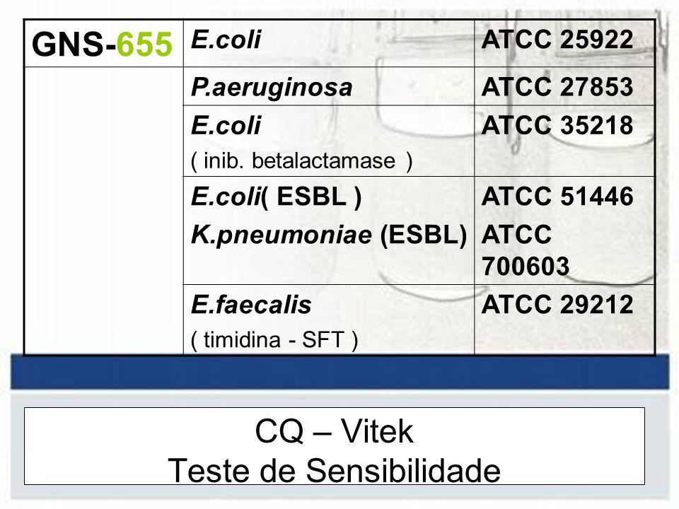 CQ – Vitek Teste de Sensibilidade