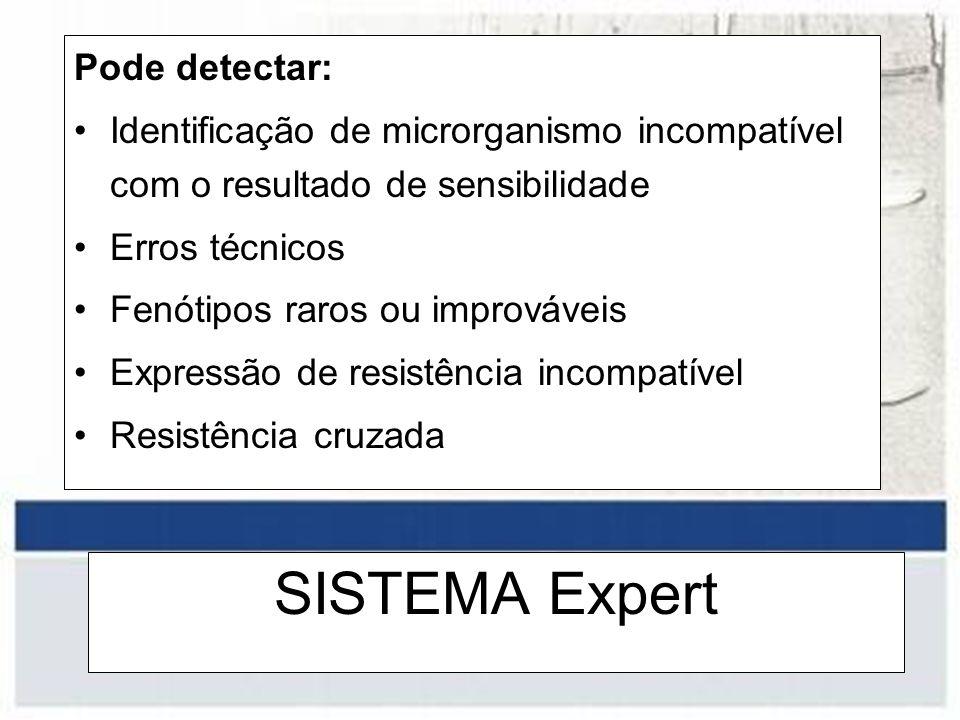 SISTEMA Expert Pode detectar: