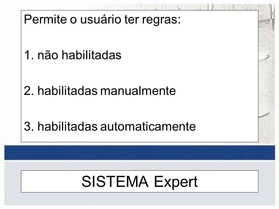 SISTEMA Expert Permite o usuário ter regras: 1. não habilitadas