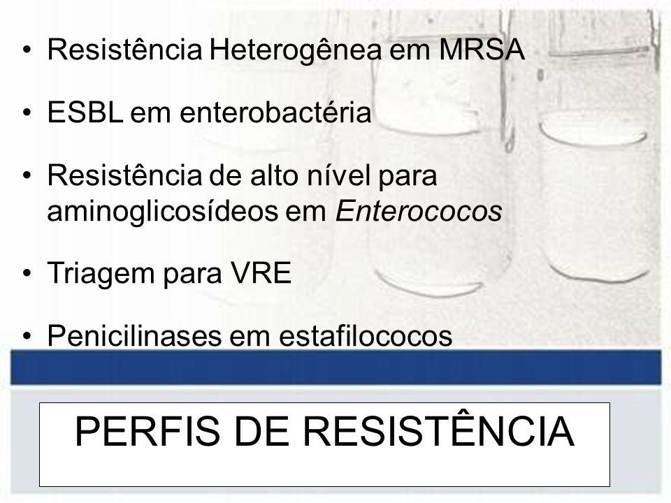 PERFIS DE RESISTÊNCIA Resistência Heterogênea em MRSA