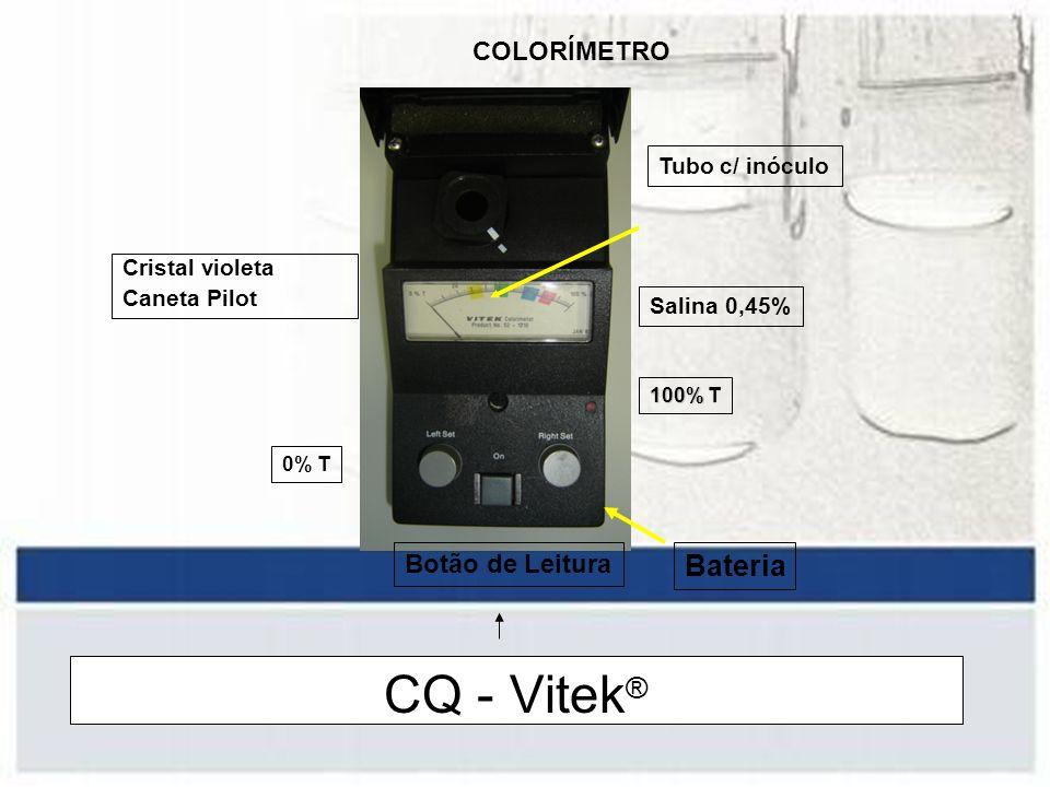 CQ - Vitek® Bateria COLORÍMETRO Botão de Leitura Tubo c/ inóculo