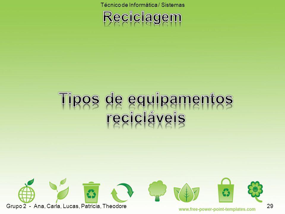 Tipos de equipamentos recicláveis