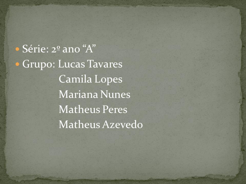 Série: 2º ano A Grupo: Lucas Tavares Camila Lopes Mariana Nunes Matheus Peres Matheus Azevedo