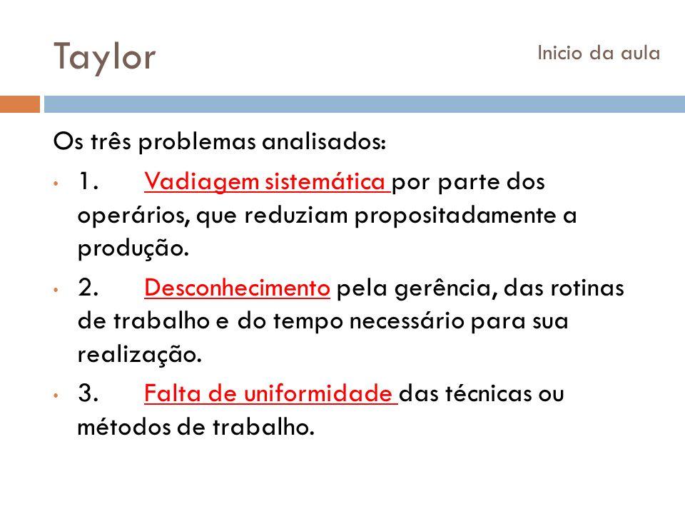 Taylor Os três problemas analisados:
