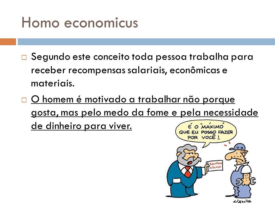 Homo economicus Segundo este conceito toda pessoa trabalha para receber recompensas salariais, econômicas e materiais.