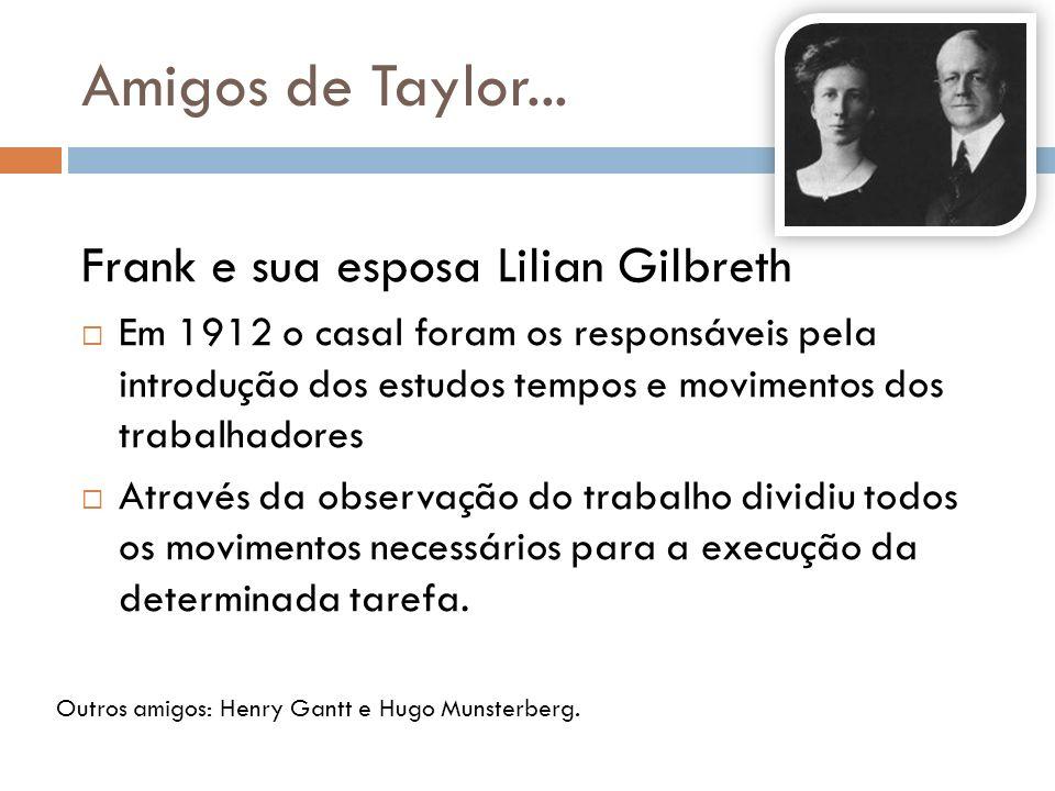 Amigos de Taylor... Frank e sua esposa Lilian Gilbreth