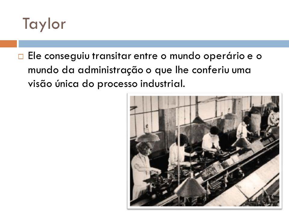 Taylor Ele conseguiu transitar entre o mundo operário e o mundo da administração o que lhe conferiu uma visão única do processo industrial.