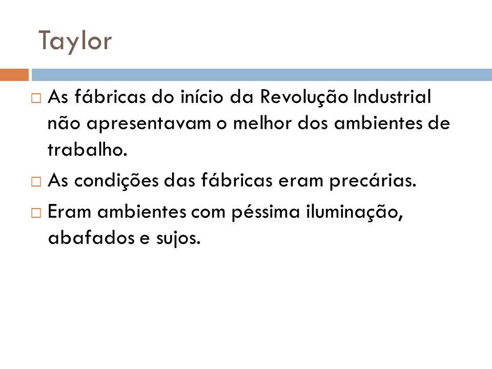 Taylor As fábricas do início da Revolução Industrial não apresentavam o melhor dos ambientes de trabalho.