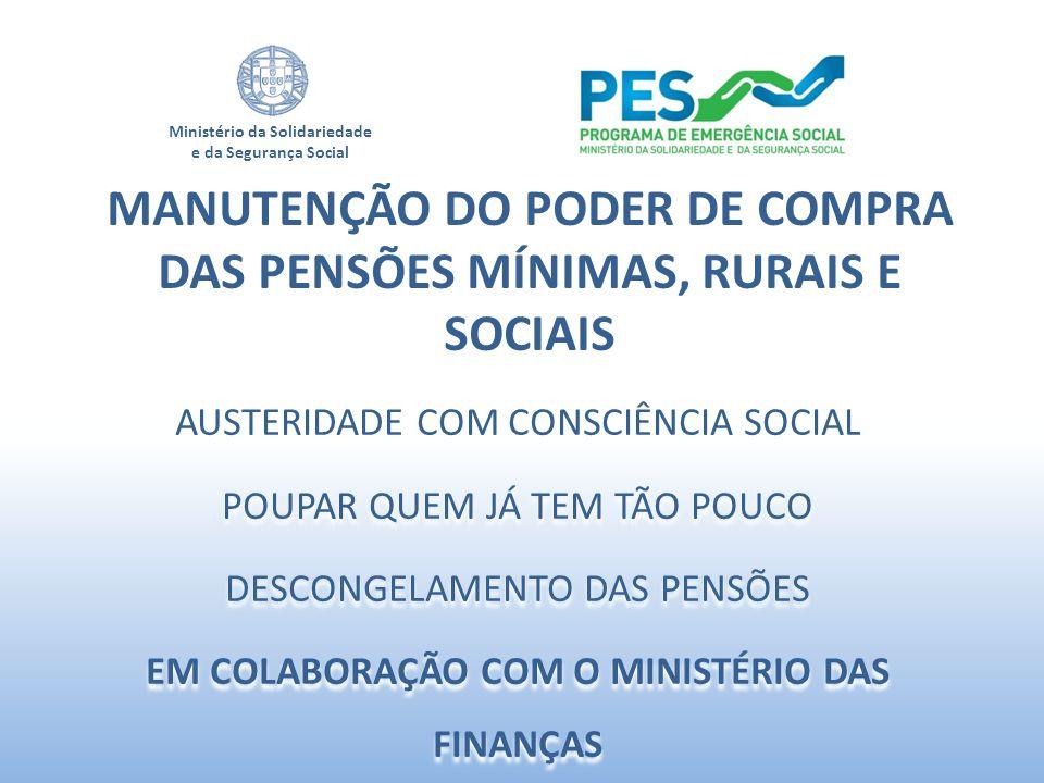 MANUTENÇÃO DO PODER DE COMPRA DAS PENSÕES MÍNIMAS, RURAIS E SOCIAIS