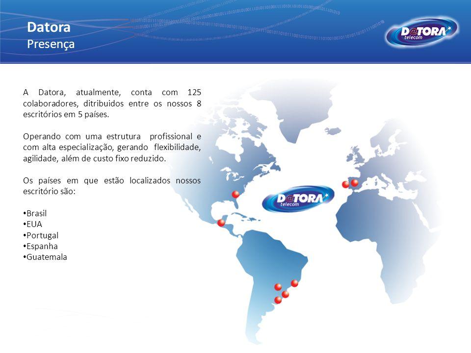 Datora Presença. A Datora, atualmente, conta com 125 colaboradores, ditribuidos entre os nossos 8 escritórios em 5 países.