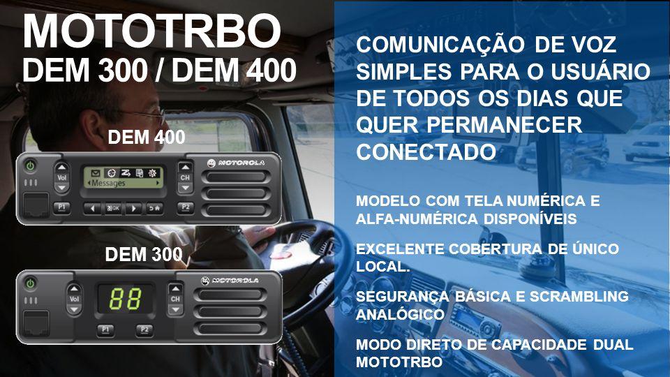 MOTOTRBO DEM 300 / DEM 400 COMUNICAÇÃO DE VOZ SIMPLES PARA O USUÁRIO DE TODOS OS DIAS QUE QUER PERMANECER CONECTADO.