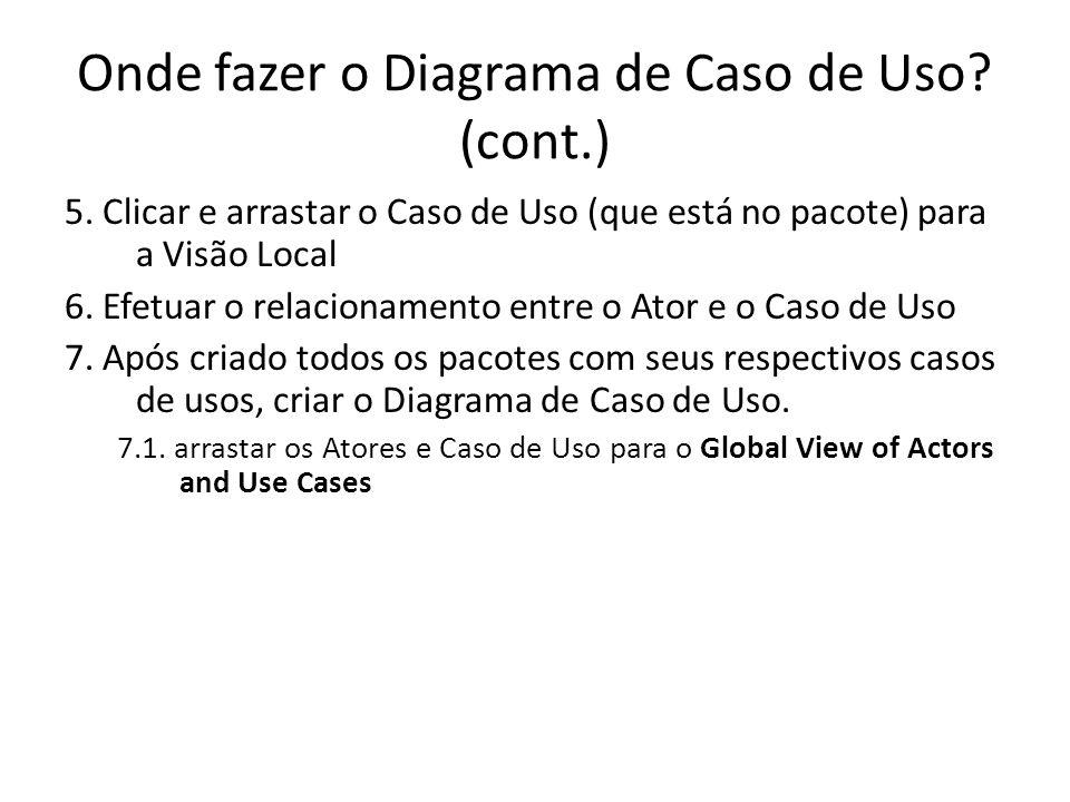 Onde fazer o Diagrama de Caso de Uso (cont.)