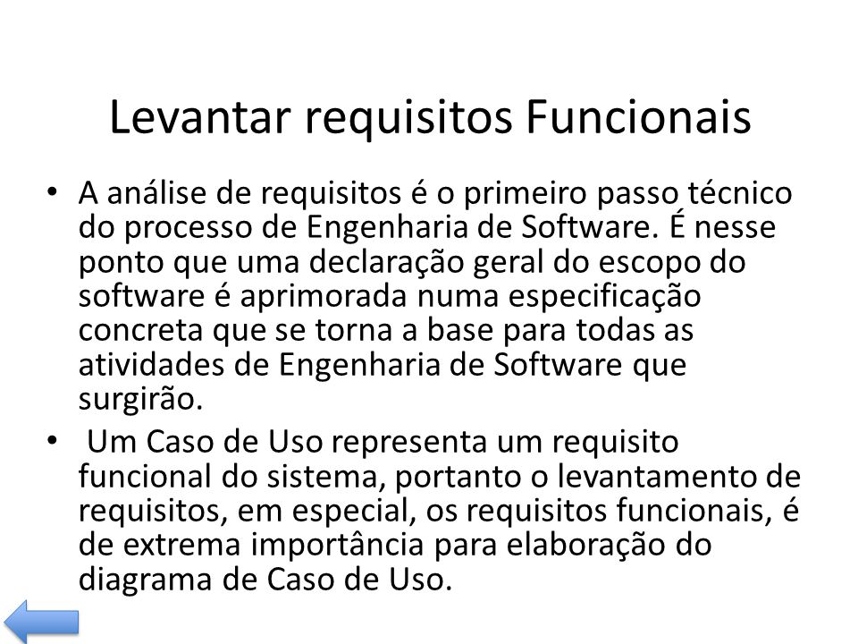 Levantar requisitos Funcionais