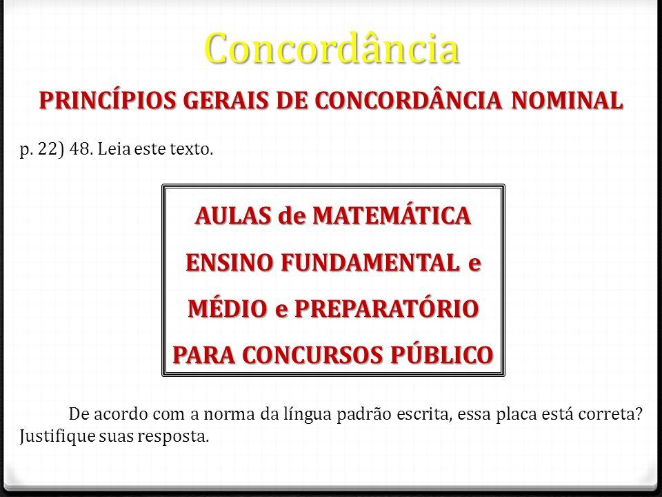 PRINCÍPIOS GERAIS DE CONCORDÂNCIA NOMINAL PARA CONCURSOS PÚBLICO