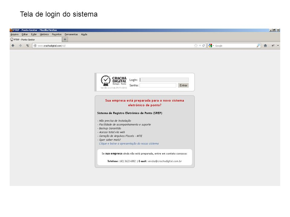 Tela de login do sistema