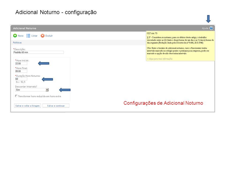 Adicional Noturno - configuração