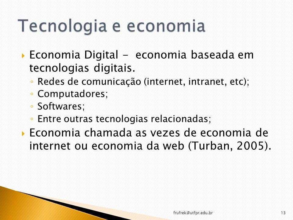 Tecnologia e economia Economia Digital - economia baseada em tecnologias digitais. Redes de comunicação (internet, intranet, etc);
