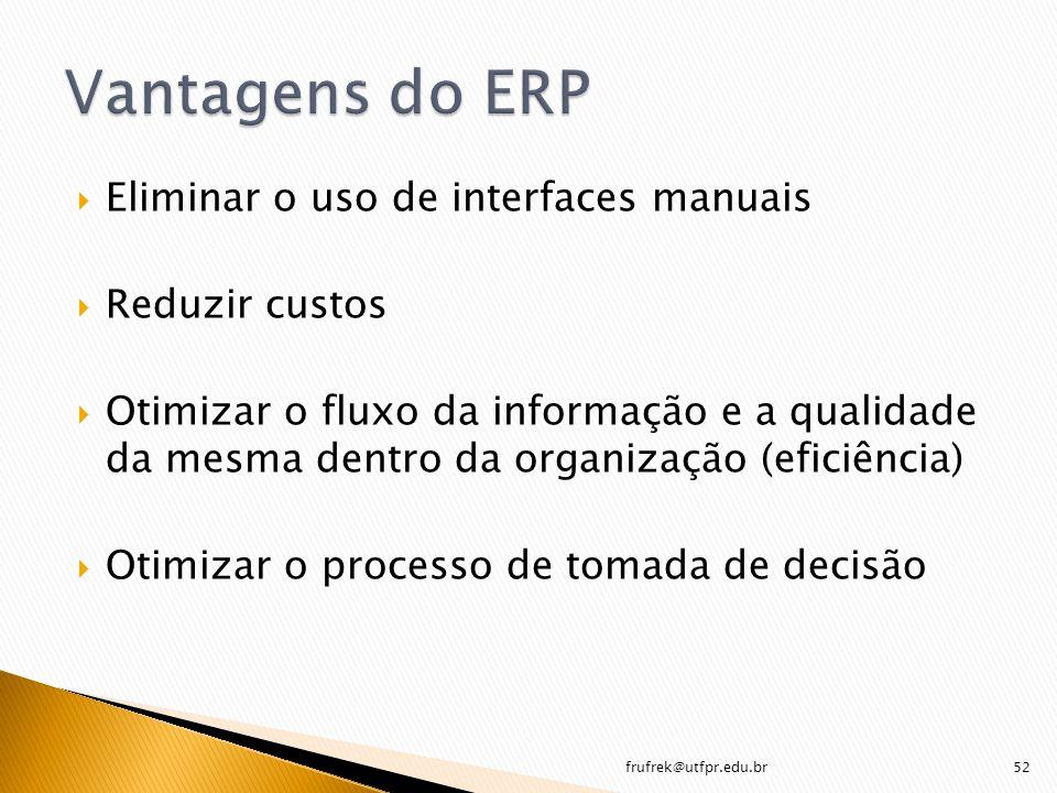 Vantagens do ERP Eliminar o uso de interfaces manuais Reduzir custos