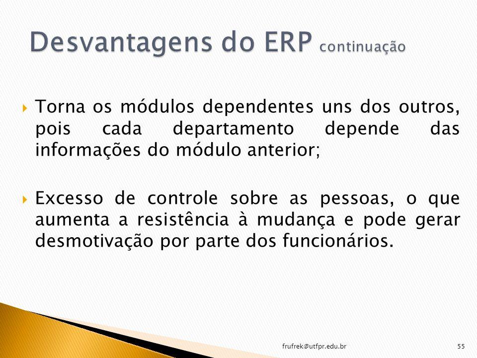 Desvantagens do ERP continuação