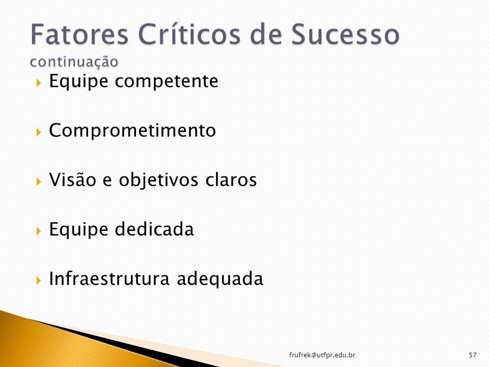 Fatores Críticos de Sucesso continuação