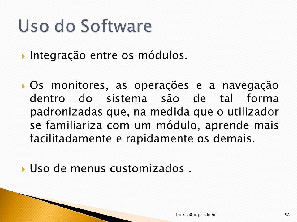 Uso do Software Integração entre os módulos.