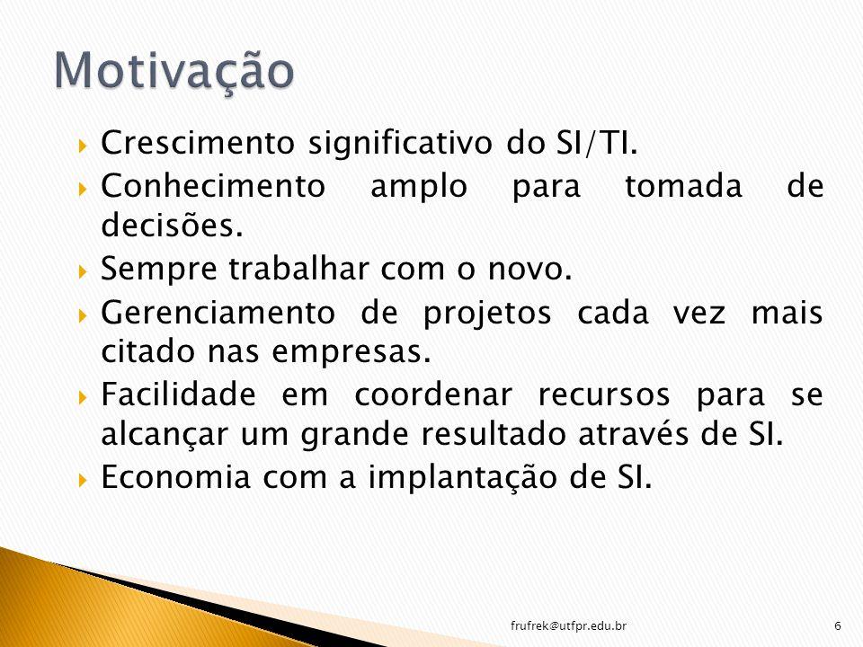 Motivação Crescimento significativo do SI/TI.