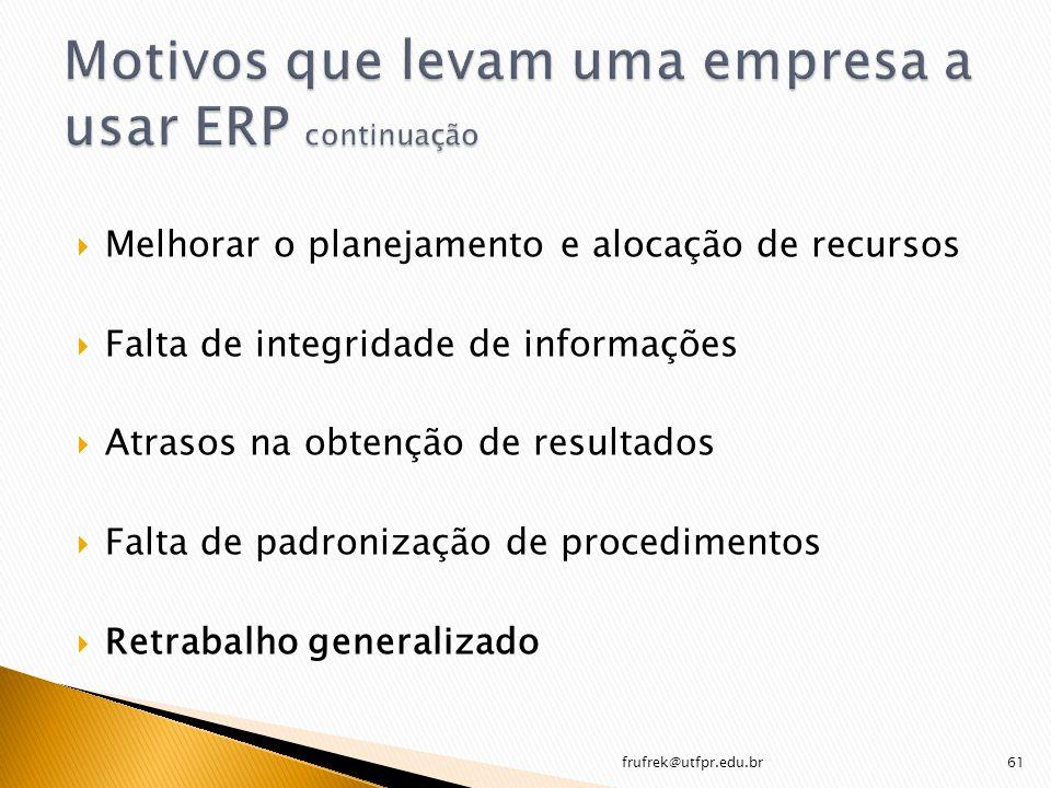 Motivos que levam uma empresa a usar ERP continuação