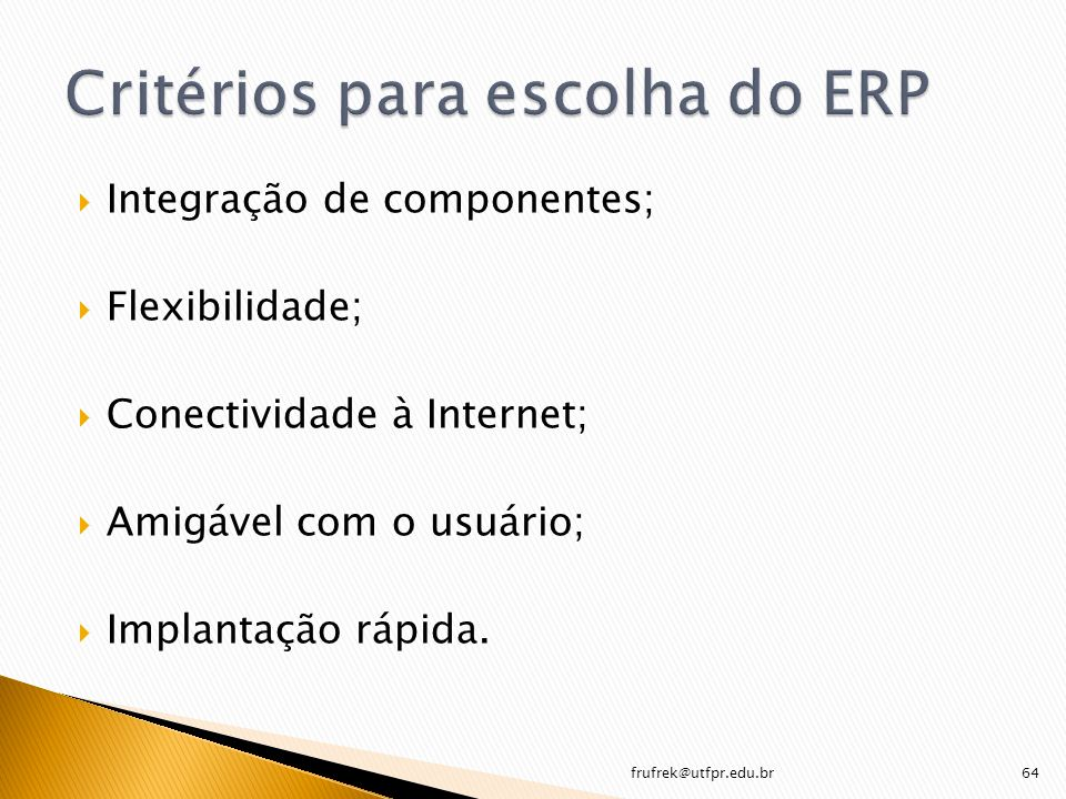 Critérios para escolha do ERP