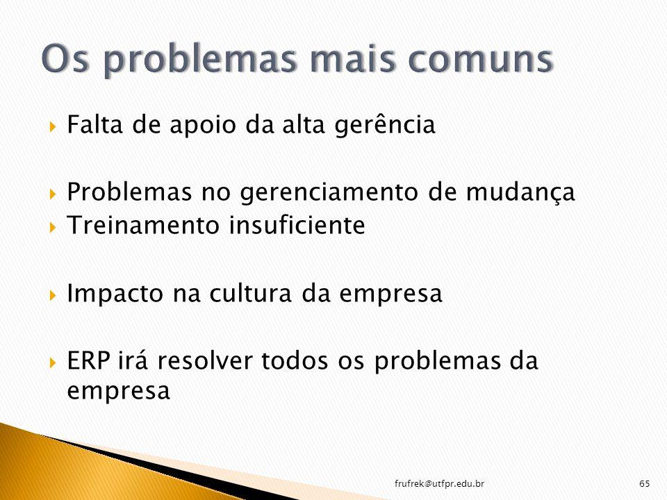 Os problemas mais comuns