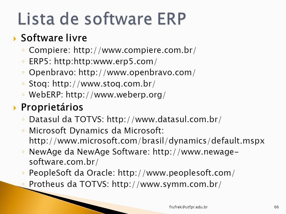 Lista de software ERP Software livre Proprietários