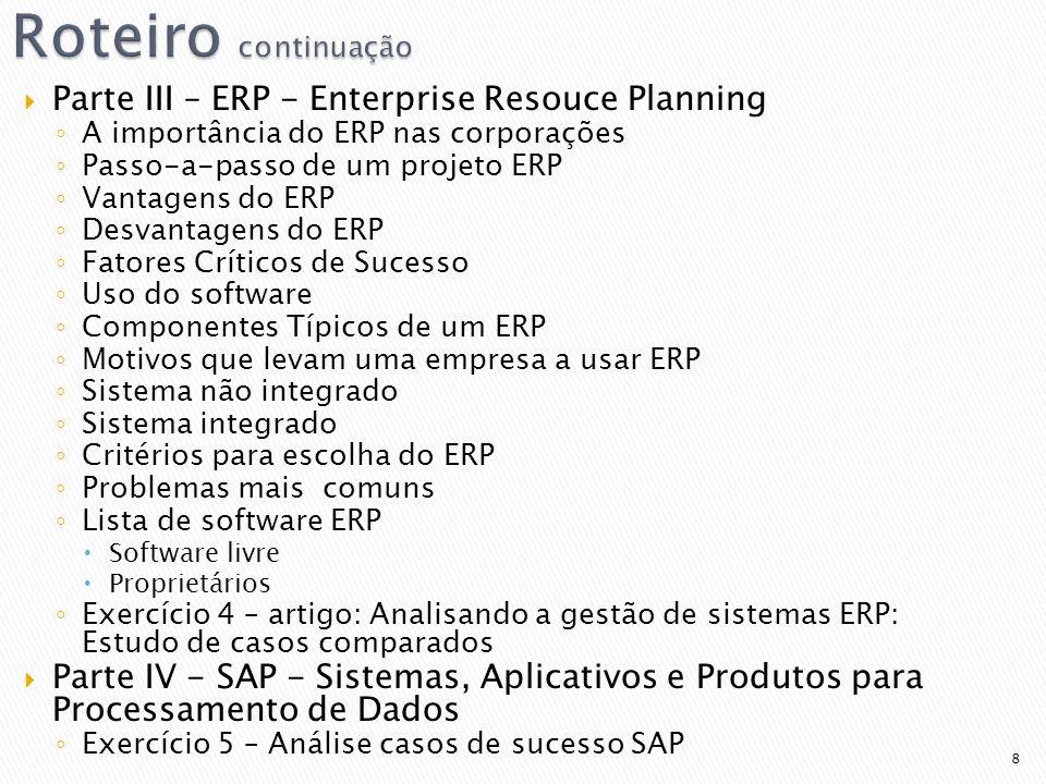 Roteiro continuação Parte III – ERP - Enterprise Resouce Planning