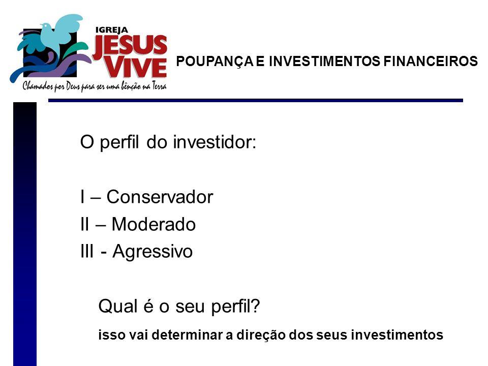 O perfil do investidor: I – Conservador II – Moderado III - Agressivo