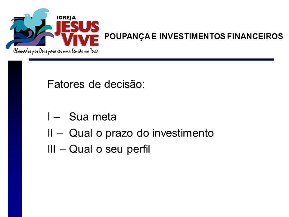 II – Qual o prazo do investimento III – Qual o seu perfil