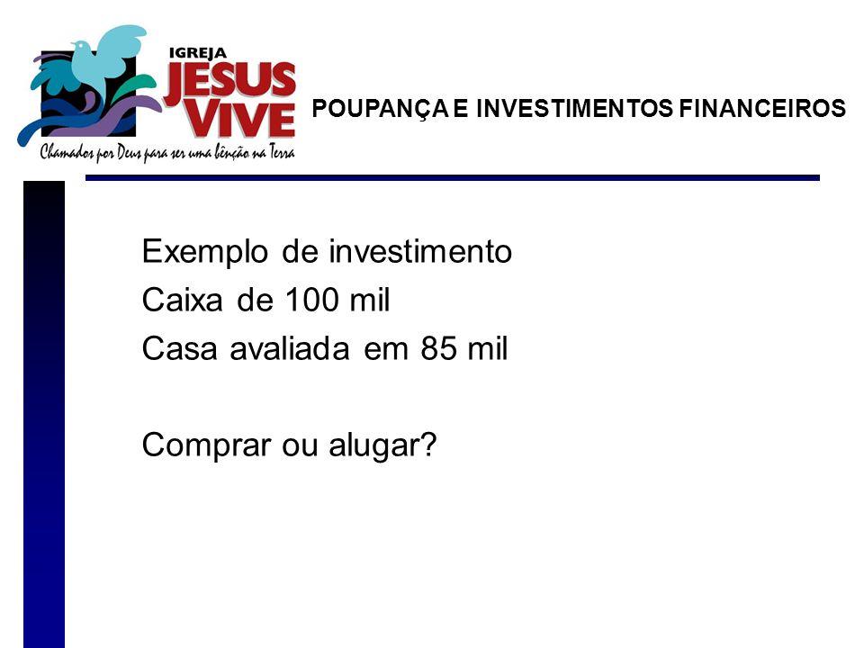 Exemplo de investimento Caixa de 100 mil Casa avaliada em 85 mil