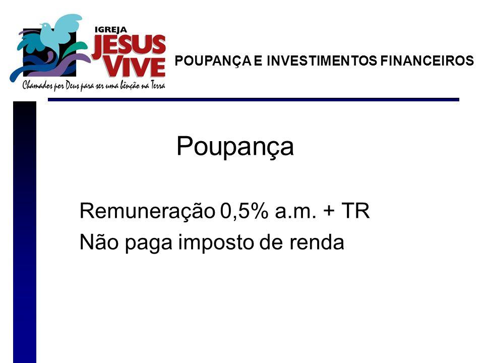 Poupança Remuneração 0,5% a.m. + TR Não paga imposto de renda